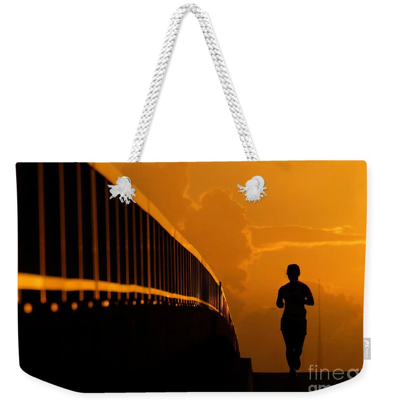 Running Weekender Tote Bag featuring the photograph Running Girl by David Lee Thompson