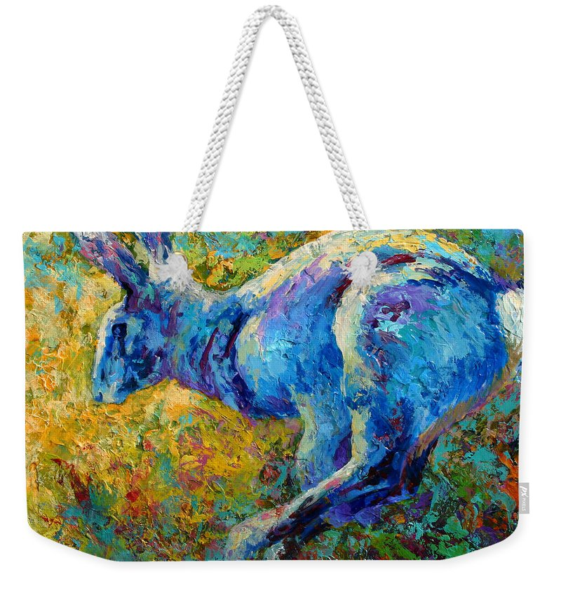 Rabbit Weekender Tote Bag featuring the painting Running Hare by Marion Rose