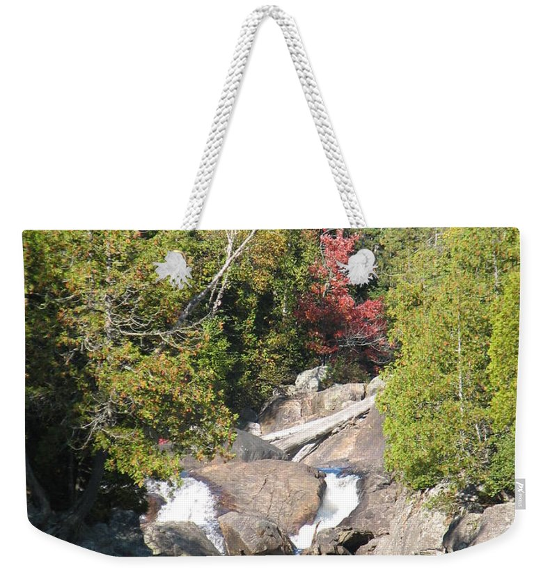 Waterfall Weekender Tote Bag featuring the photograph Running Through The Woods by Kelly Mezzapelle