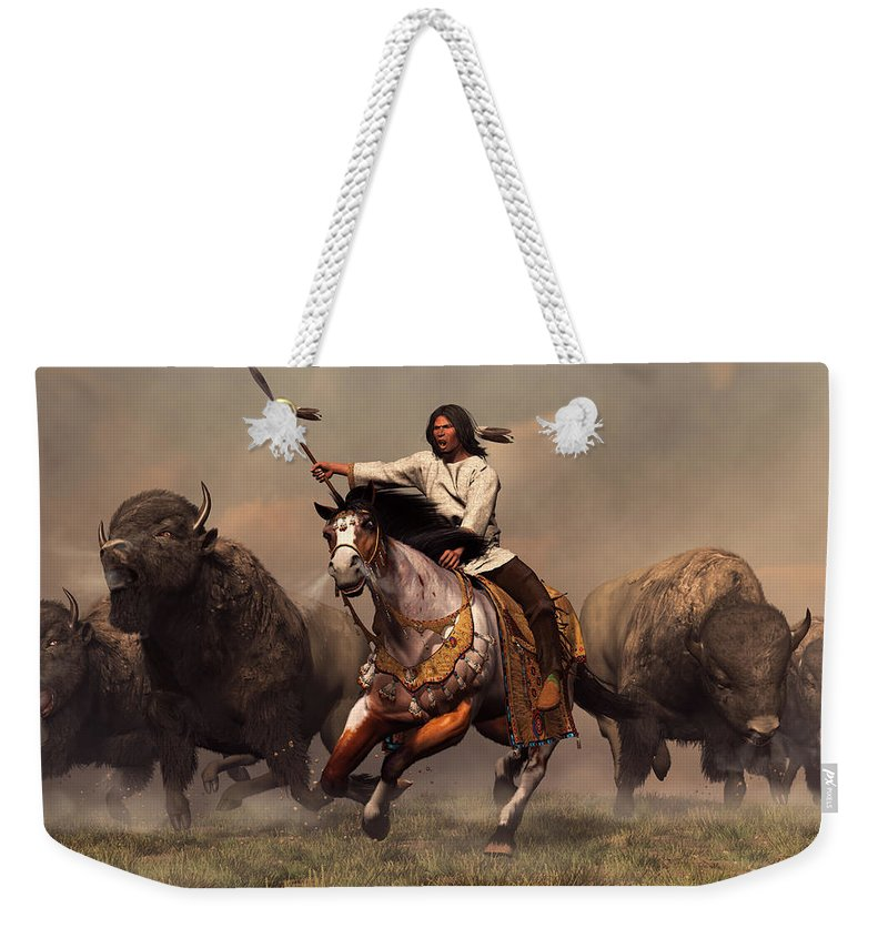 Western Weekender Tote Bag featuring the digital art Running With Buffalo by Daniel Eskridge