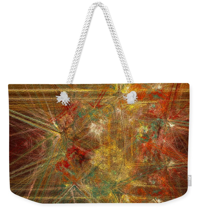 Abstract Weekender Tote Bag featuring the digital art Runways by Diane Parnell