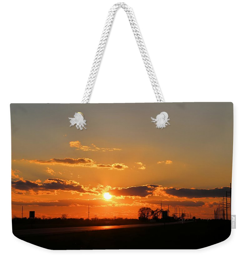 Illinois Weekender Tote Bag featuring the photograph Rural Il Sunset Reflections by Theresa Campbell