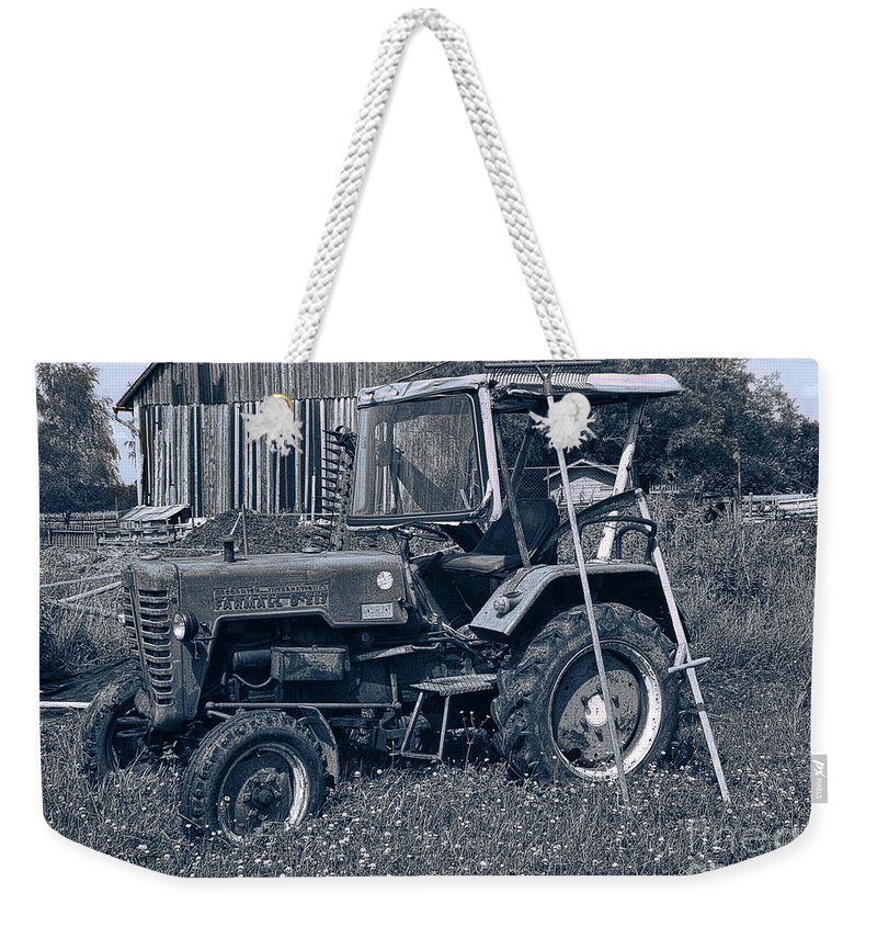 Nostalgia Weekender Tote Bag featuring the photograph Rural Vehicle by Jutta Maria Pusl