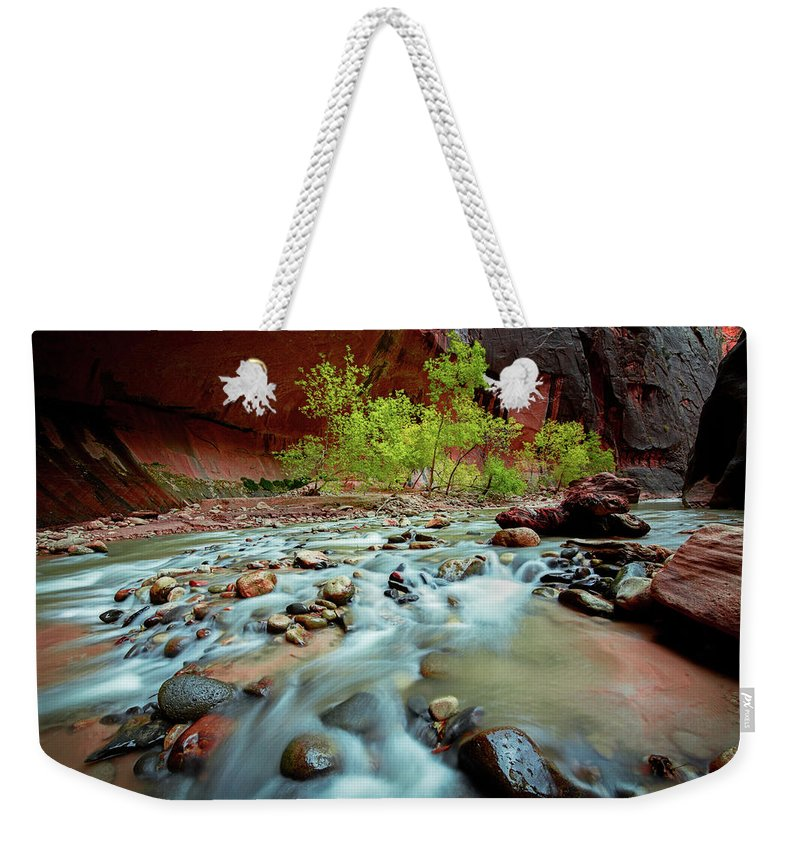 Amazing Weekender Tote Bag featuring the photograph Rush At Narrows by Edgars Erglis