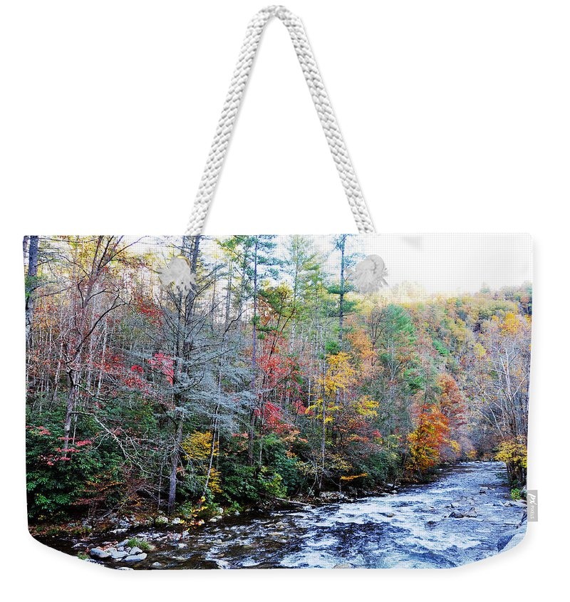 Smokey Mountain Weekender Tote Bag featuring the photograph Rushing by Brittany Horton