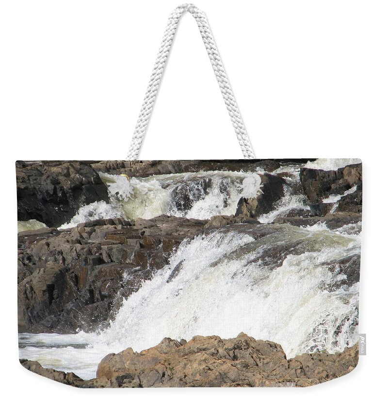Waterfall Weekender Tote Bag featuring the photograph Rushing by Kelly Mezzapelle