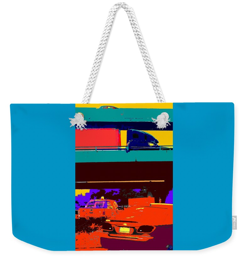 Cars Weekender Tote Bag featuring the digital art Rushing To Nowhere by Ian MacDonald