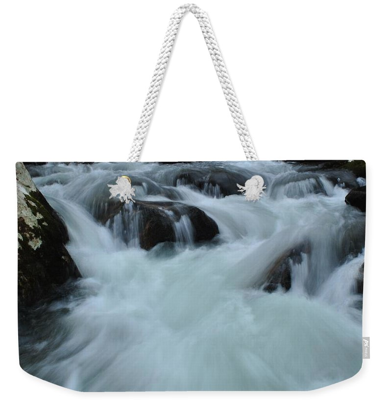 Water Weekender Tote Bag featuring the photograph Rushing Waters by Eric Liller