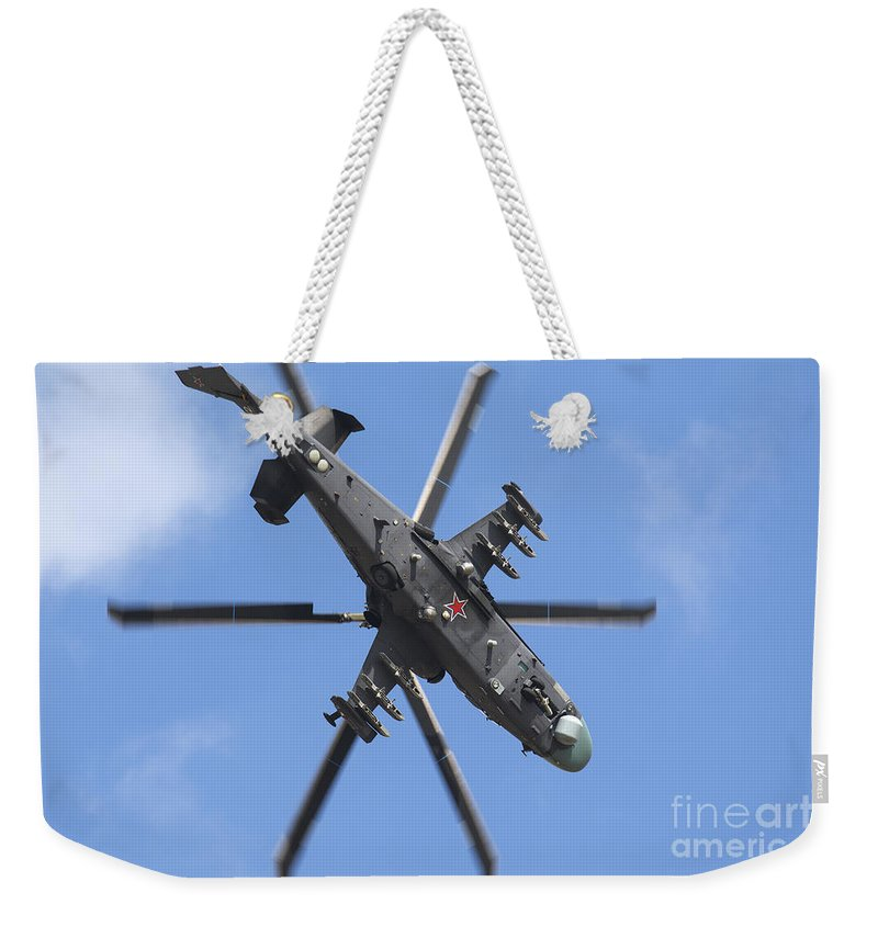 Horizontal Weekender Tote Bag featuring the photograph Russian Air Force Ka-52 Helicopter by Daniele Faccioli