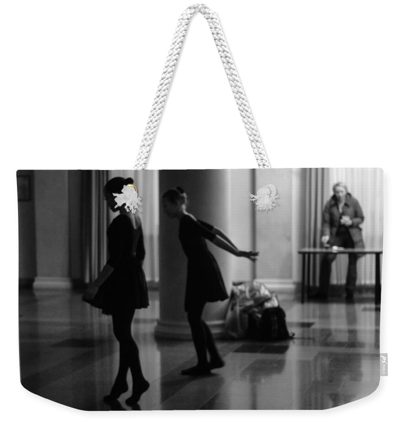 Ballerinas Weekender Tote Bag featuring the photograph Russian Ballerinas Warming Up by John Williams