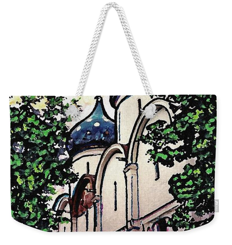 Holy Trinity Monastery Weekender Tote Bag featuring the photograph Russian Church by Sarah Loft
