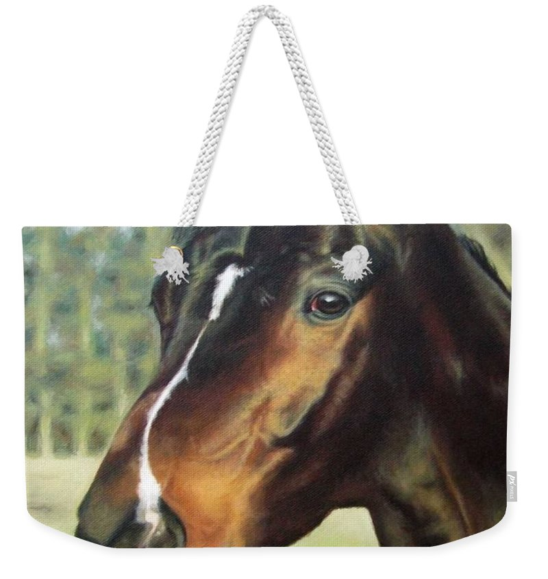 Horse Weekender Tote Bag featuring the painting Russian Horse by Nicole Zeug