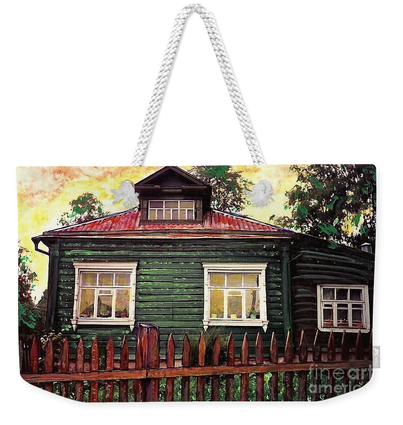 Russia Weekender Tote Bag featuring the mixed media Russian House 2 by Sarah Loft