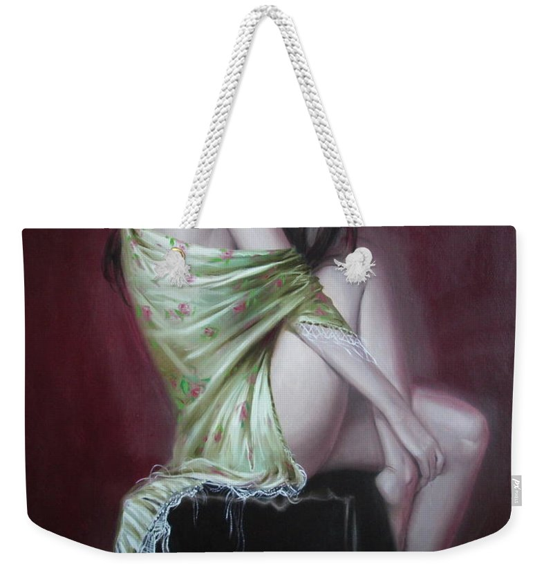 Art Weekender Tote Bag featuring the painting Russian Model by Sergey Ignatenko