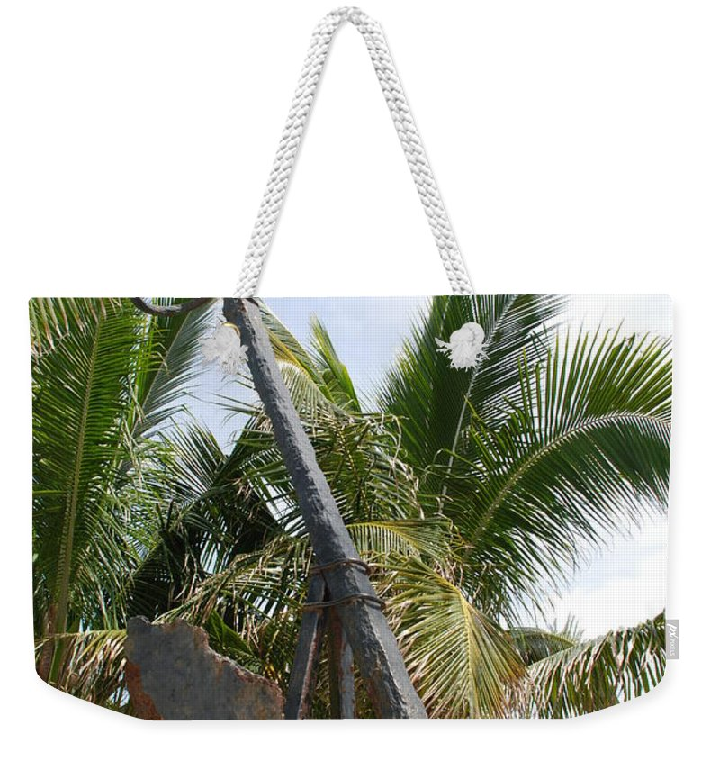 Nautical Weekender Tote Bag featuring the photograph Rusted Anchor by Rob Hans