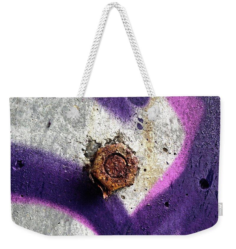 Rust Weekender Tote Bag featuring the digital art Rusted Nut by Dan Reich