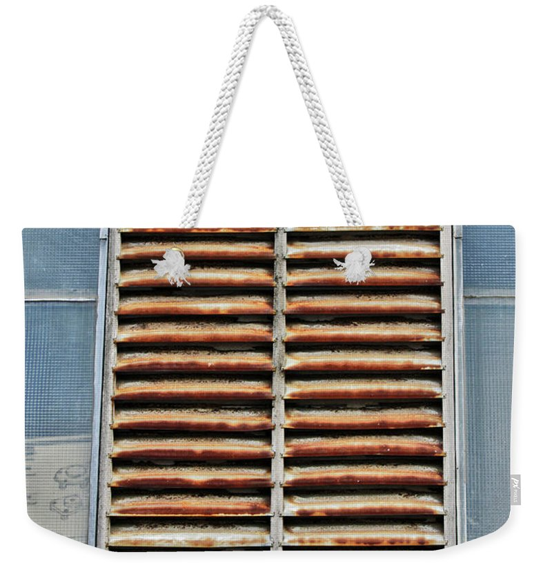 Ventilation Weekender Tote Bag featuring the photograph Rusted Shut by Stephen Mitchell