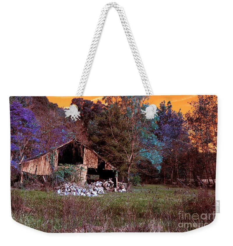 Abandoned Weekender Tote Bag featuring the photograph Rustic Barn In Disrepair False Color Infrared by Alan Look