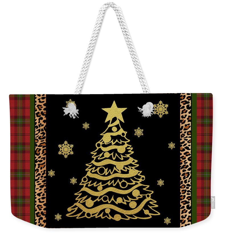Jean Plout Weekender Tote Bag featuring the painting Rustic Christmas-jp3697 by Jean Plout