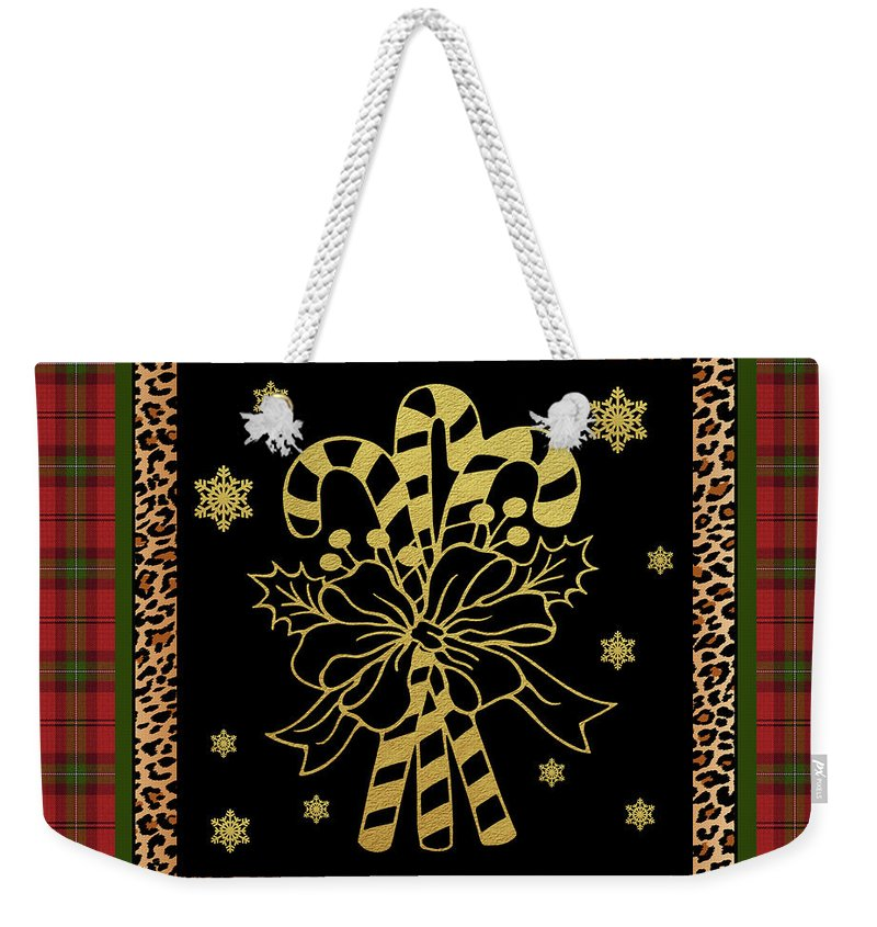 Jean Plout Weekender Tote Bag featuring the painting Rustic Christmas-jp3698 by Jean Plout