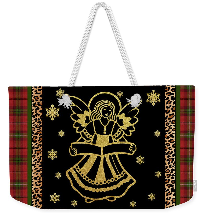 Jean Plout Weekender Tote Bag featuring the painting Rustic Christmas-jp3703 by Jean Plout