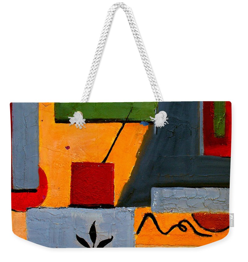 Abstract Weekender Tote Bag featuring the painting Rustic Garden by Ruth Palmer
