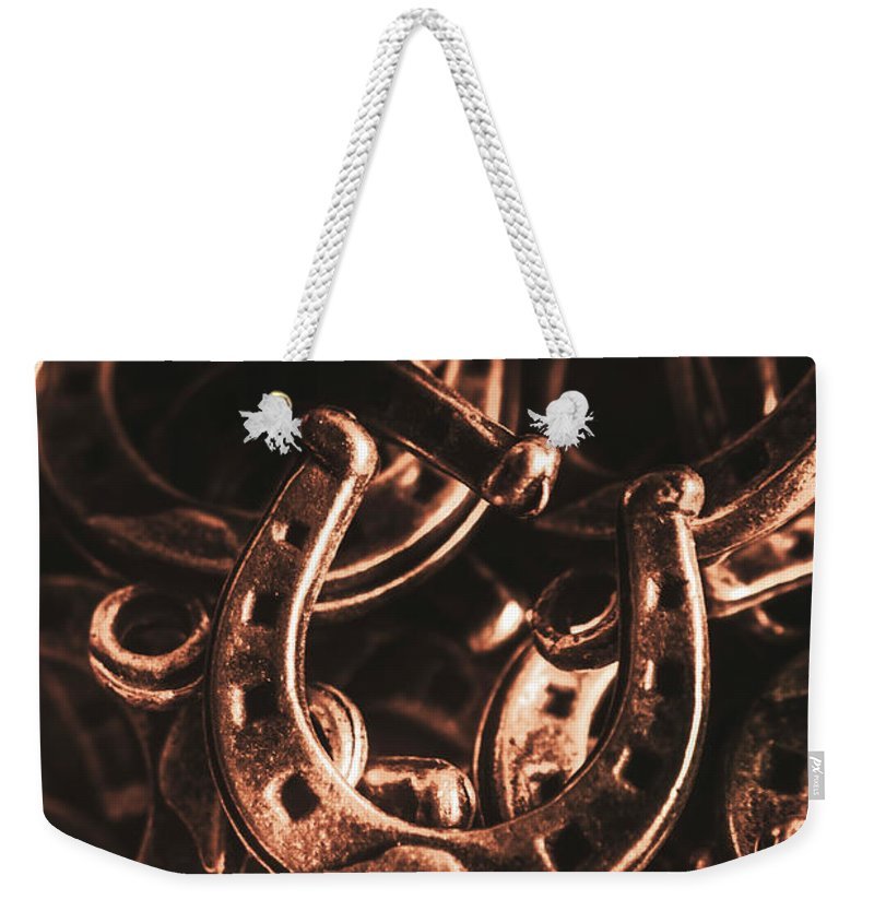 Horse Weekender Tote Bag featuring the photograph Rustic Horse Shoes by Jorgo Photography - Wall Art Gallery