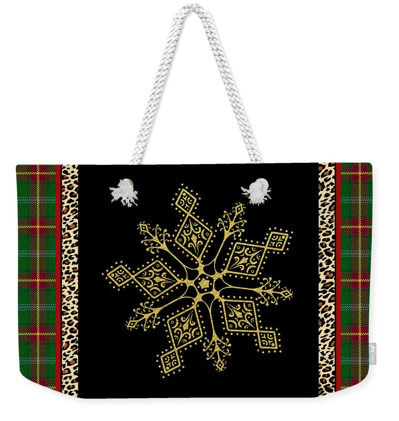 Jean Plout Weekender Tote Bag featuring the painting Rustic Snowflake-jp3696 by Jean Plout
