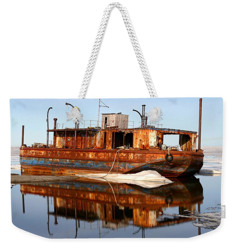 Boat Weekender Tote Bag featuring the photograph Rusty Barge by Anthony Jones