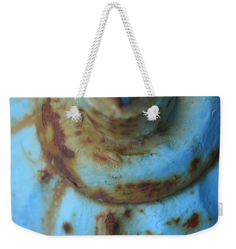 Fire Weekender Tote Bag featuring the photograph Rusty Blue Fire Hydrant by Toby McGuire