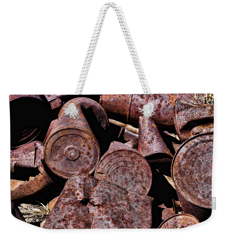 Rusty Cans Weekender Tote Bag featuring the photograph Rusty by Kelley King