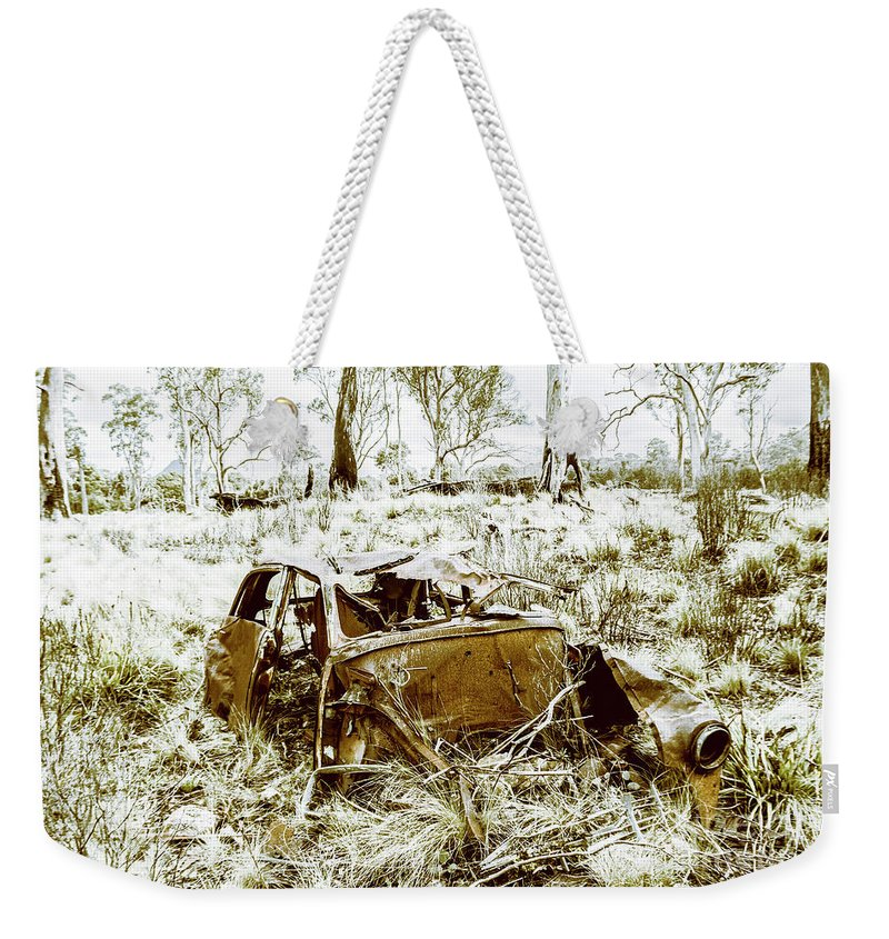 Holden Weekender Tote Bag featuring the photograph Rusty Old Holden Car Wreck by Jorgo Photography - Wall Art Gallery