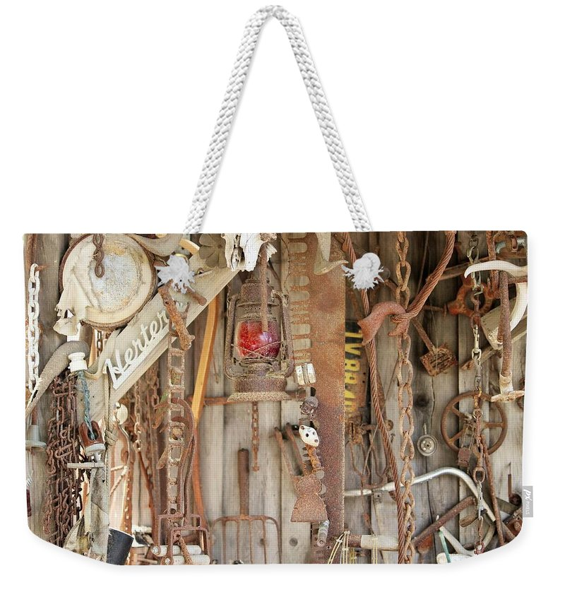 Rust Weekender Tote Bag featuring the photograph Rusty Treasures Photograph by Marnie Patchett