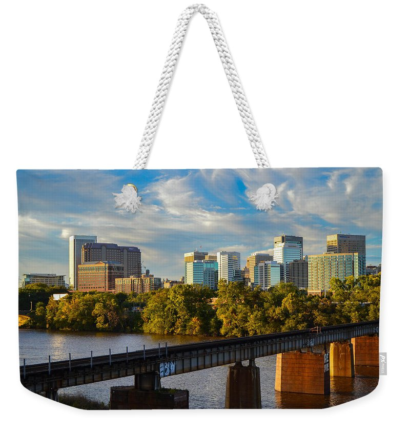 Sunset Weekender Tote Bag featuring the photograph Rva Sunset by Aaron Dishner