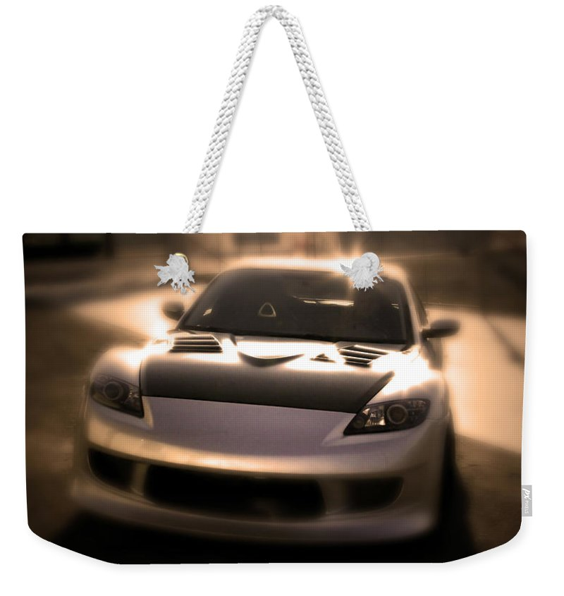 Mazda Rx-8 Weekender Tote Bag featuring the photograph Rx8 Glow by Chris Brannen