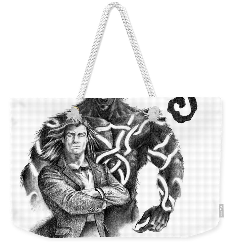 Werewolf Weekender Tote Bag featuring the drawing Ryan With Werewolf by Melissa A Benson