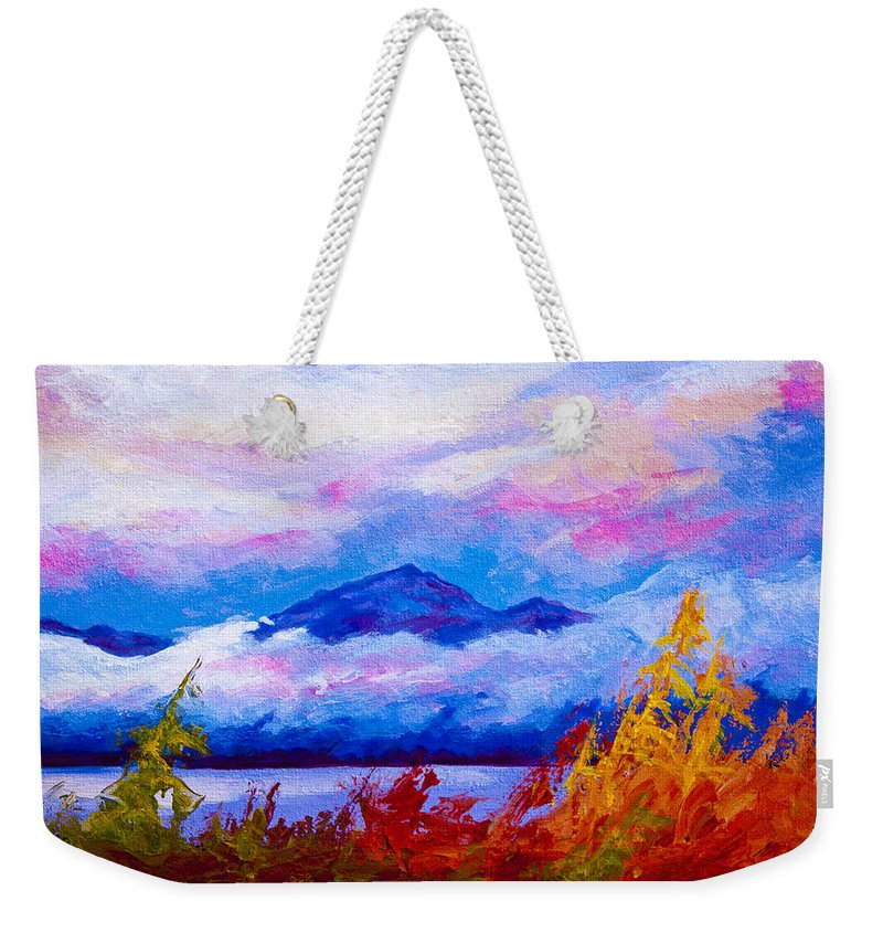 Alaska Weekender Tote Bag featuring the painting Rythmn Of The Arctic by Marion Rose