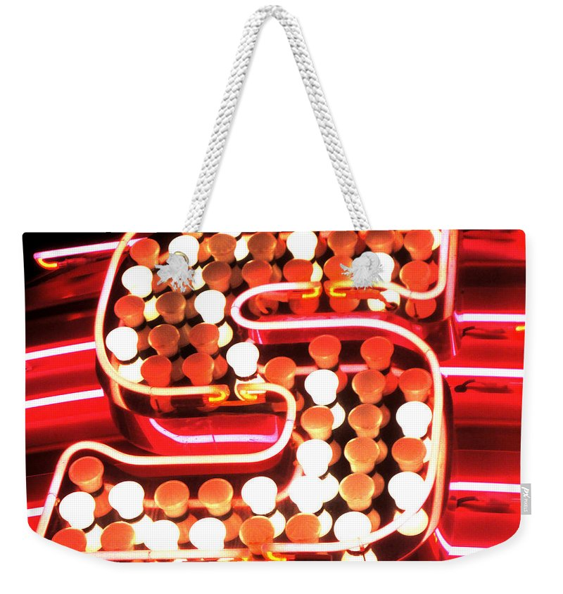 City Weekender Tote Bag featuring the photograph S In Lights by Susan Baker