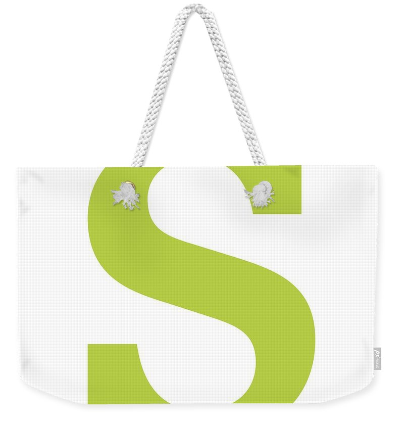 S Weekender Tote Bag featuring the digital art S In Spring Green Typewriter Style by Custom Home Fashions