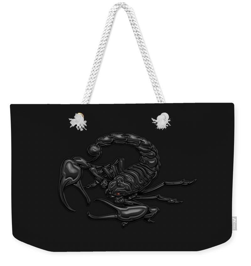 'beasts Weekender Tote Bag featuring the digital art Sacred Black Scorpion On Black Canvas by Serge Averbukh