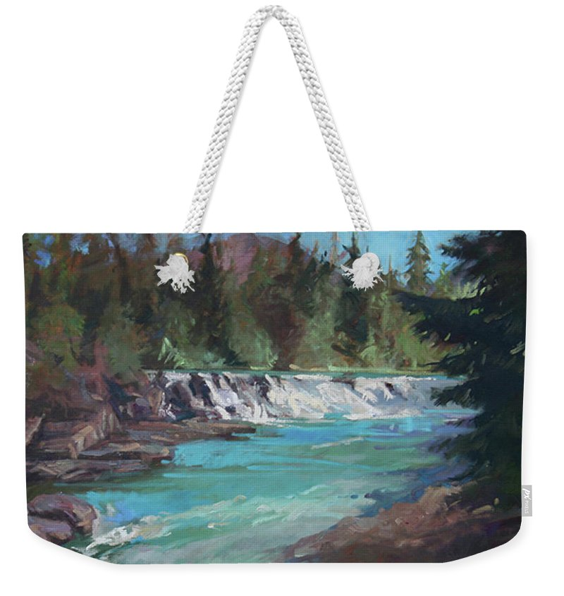 Glacier National Park Weekender Tote Bag featuring the painting Sacred Dancing Cascade by Betty Jean Billups