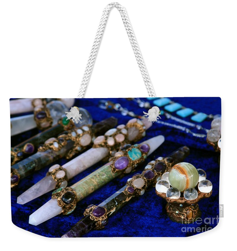 Aloha Weekender Tote Bag featuring the photograph Sacred Gemstones Energy Amulets Crystal Balls Magic Wands by Sharon Mau