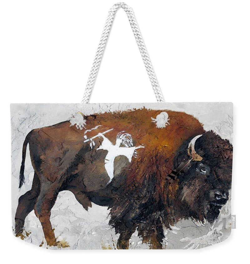 Southwest Art Weekender Tote Bag featuring the painting Sacred Gift by J W Baker