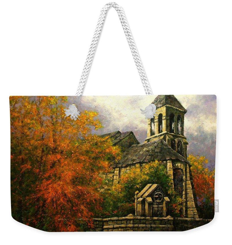 Paris Weekender Tote Bag featuring the painting Sacred Heart Chapel Paris by Jim Gola