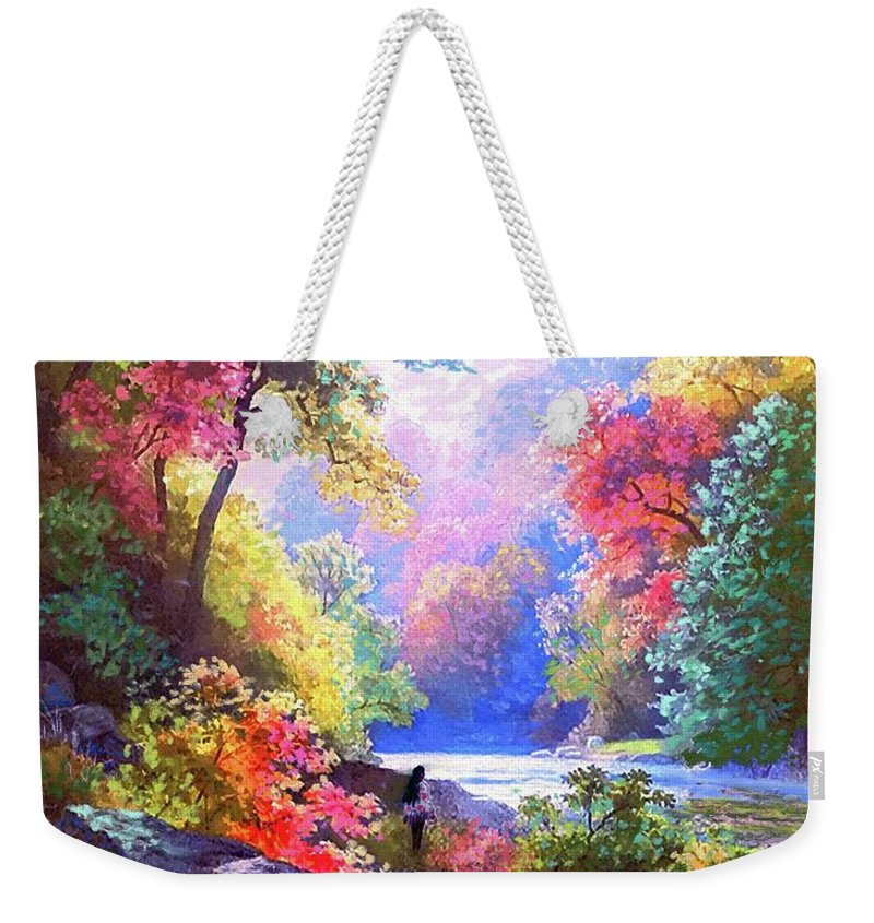Meditation Weekender Tote Bag featuring the painting Sacred Landscape Meditation by Jane Small