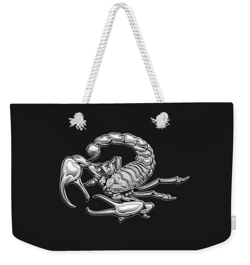 'beasts Weekender Tote Bag featuring the digital art Sacred Silver Scorpion On Black Canvas by Serge Averbukh