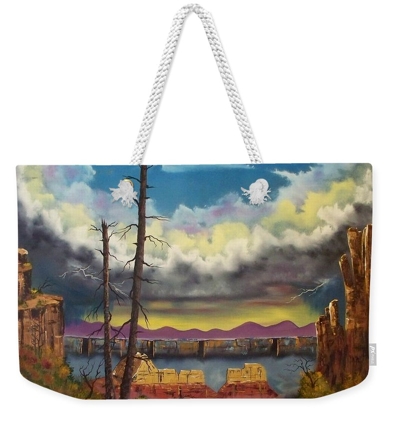 Painting Weekender Tote Bag featuring the painting Sacred View by Patrick Trotter