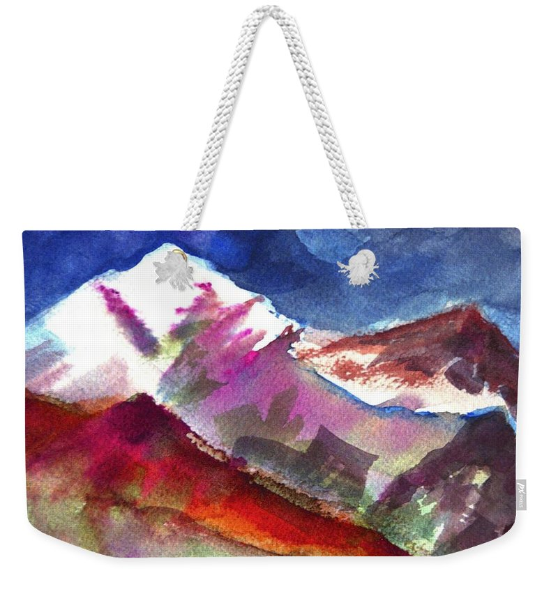 Mountain Weekender Tote Bag featuring the painting Sacredness by Ishwar Malleret