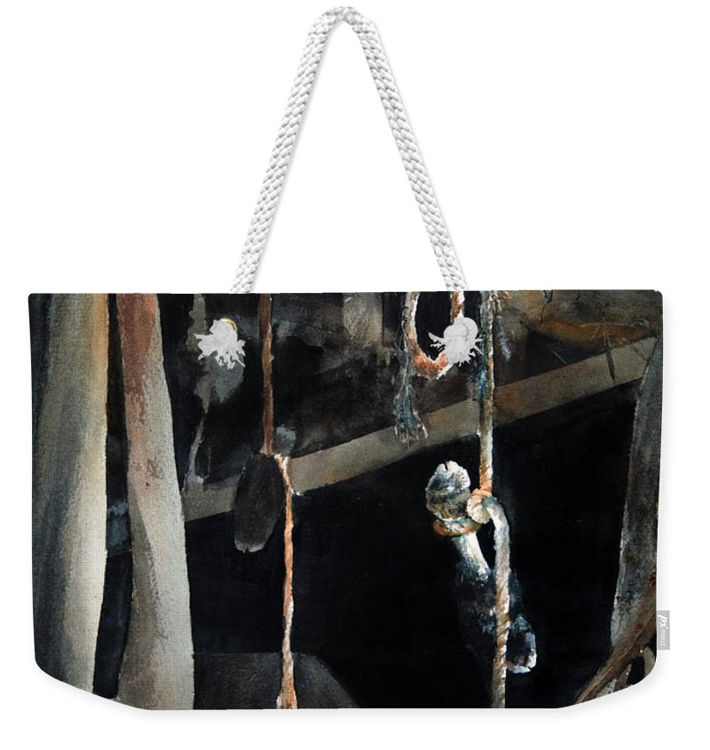 Abstract Weekender Tote Bag featuring the painting Sacrifice by Rachel Christine Nowicki