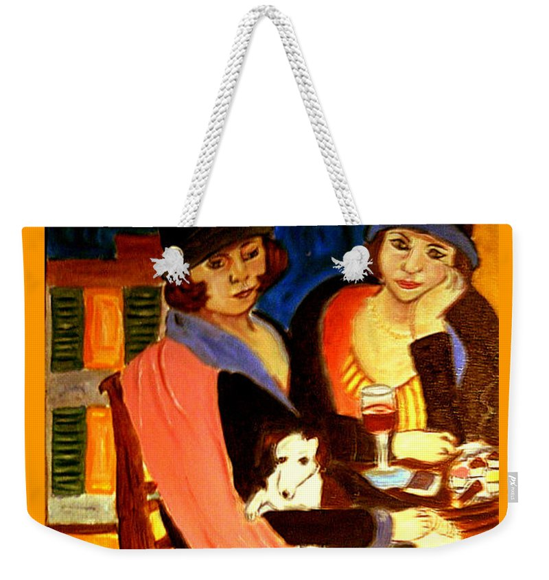 1920s Weekender Tote Bag featuring the painting Sad Cafe by Rusty Gladdish